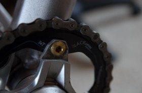 AbsoluteBlack oval chainring mounted to Shimano cranks