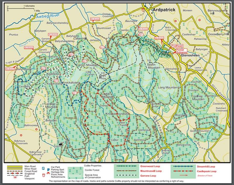 Ballyhoura MTB trail map