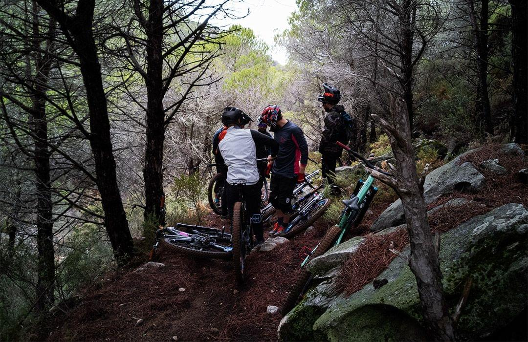 Mountain bikers with Switchbacks MTB in Malaga