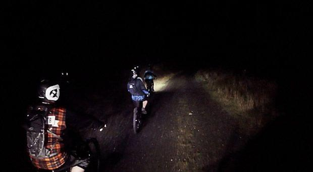 Mountain biking at night in Ballinastoe Wicklow