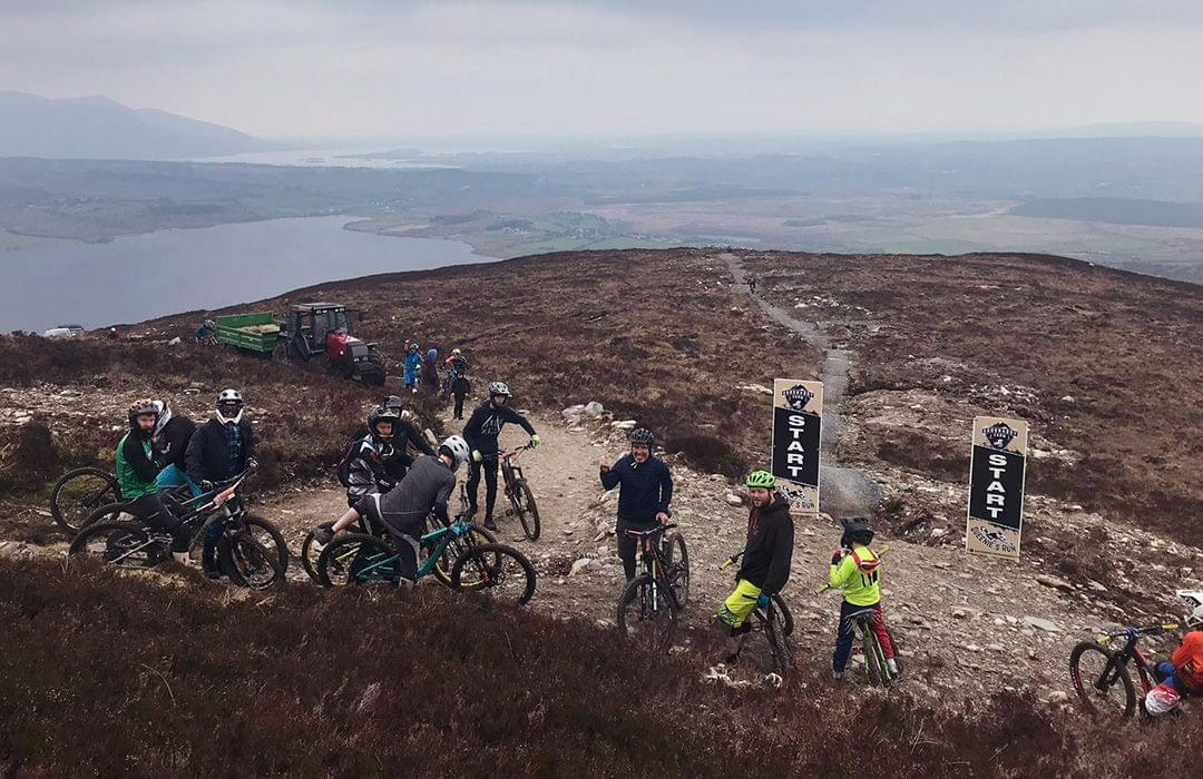 Mountain bikers ready to ride Shronaboy Farm