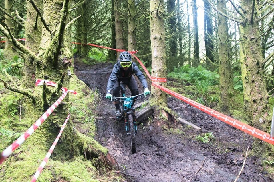 mountain bike race on muddy trails